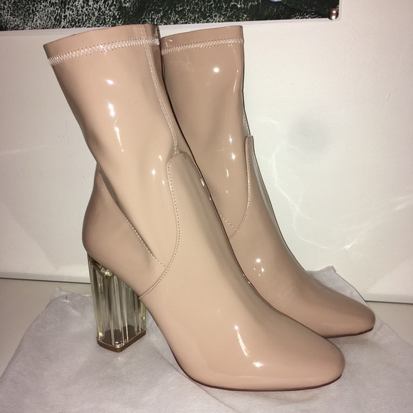 50d74900cc0 ✨Nude Glossy Sock Booties with Lucite Clear Heel NWT